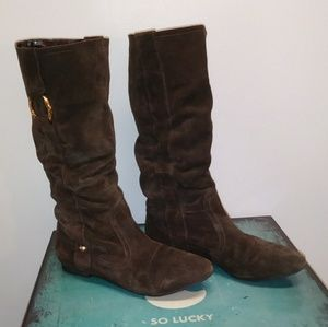 GUESS brown suede slouch boots